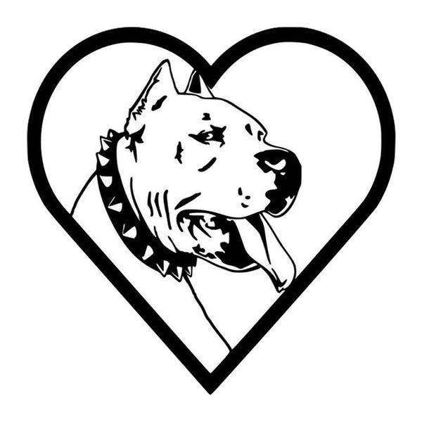 "Pitbull in Heart Outline Spike Collar Sticker (6.5"" x 6.5"")"