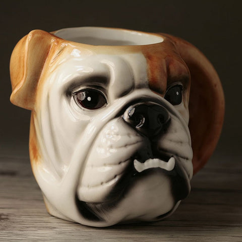 English Bulldog Head Shaped Ceramic Coffee Mug