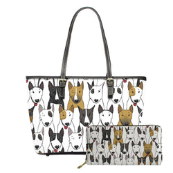 Bull Terrier Side By Side Pattern Design Shoulder Bag and Wallet