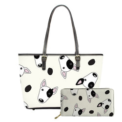 Bull Terrier Head Pattern Design White Cream Shoulder Bag and Wallet