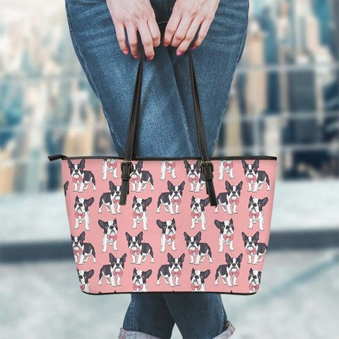 Boston Terrier Pattern Pink Shoulder Bag