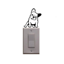 Angry French Bulldog Sitting Tilted Outline Small Sticker