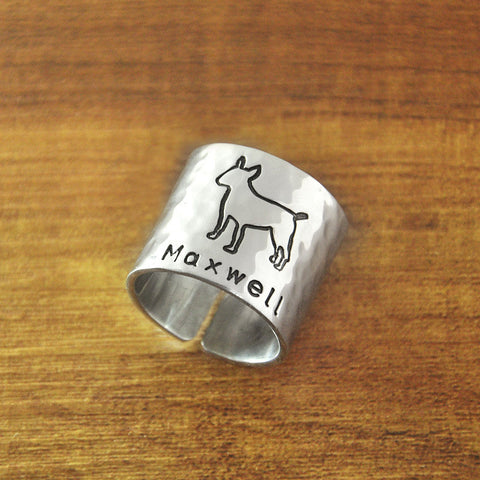 Maxwell Bull Terrier Fashion Band Ring