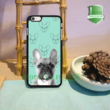 Grayscale French Bulldog Teal Background Pattern Phone Case for iPhone