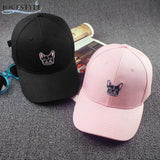 Black Gray French Bulldog Small Head Adjustable Cap