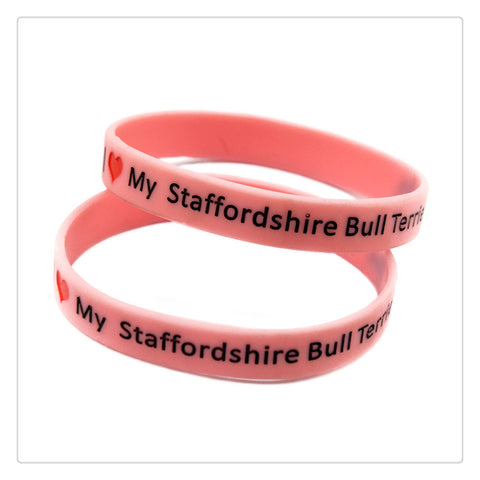 I Love My Staffordshire Bull Terrier Silicon Wristband Bracelet