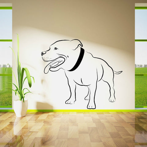 "Big Pit Bull Outline Wall Sticker (22.4"" x 19.3""), (26.0"" x 22.4"")"