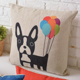Cartoon French Bulldog Circle Eyes Balloons Pillowcase