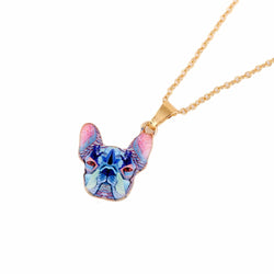 French Bulldog Blue Tie Dye Gold Chain Necklace