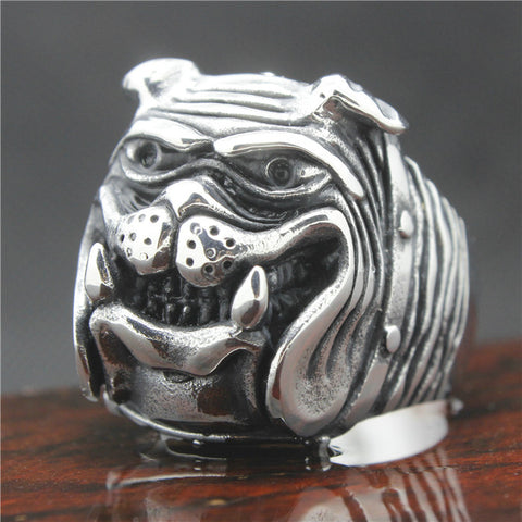 316L Stainless Steel Big Bulldog Head Ring