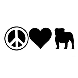 "Peace Love Bulldog Silhouette Sticker (7.0"" x 2.4"")"