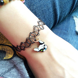 French Bulldog Head Cable Wire Charm Bracelet