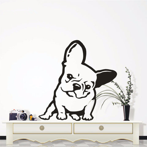 "Angry French Bulldog Sitting Tilted Outline Sticker (17.7"" x 19.7""), (21.7"" x 23.2"")"
