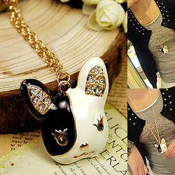 Girly French Bulldog Head Rhinestone Necklace