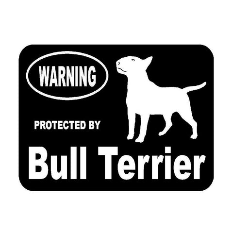 "Warning Protected by Bull Terrier Sticker (5.2"" x 3.9"")"