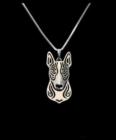 Bull Terrier Outline Head Pendant Necklace