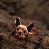 French Bulldog Head Rhinestone Eye Ring