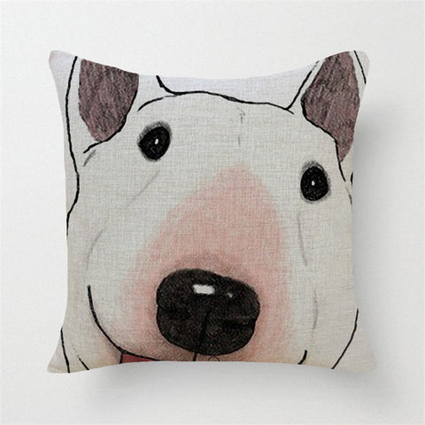 Full Size Bull Terrier Head Smiling White Pillowcase