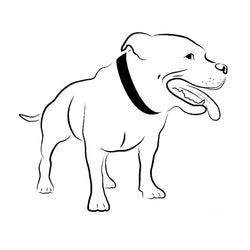 "Pitbull Mouth Open Drawing Outline Sticker (6.7"" x 5.7"")"