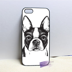 Black White Drawing Boston Terrier Big Ears Phone Case for iPhone