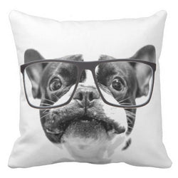 Gray French Bulldog Head With Big Glasses Pillowcase