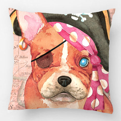 Brown French Bulldog Pirate Water Painting Style Pillowcase