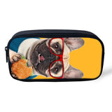 French Bulldog Glasses Eating Burger Makeup, Pencil Bag