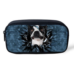 Black White French Bulldog Breaking Through Background Makeup, Pencil Bag