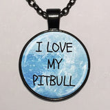 I Love My Pit Bull Silver Chain Necklace
