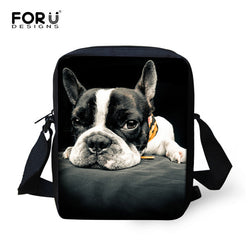 Black White French Bulldog Prone Shoulder Bag