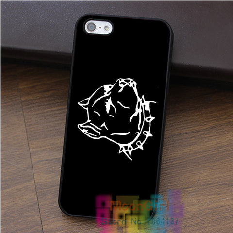 Pit Bull Head Outline Black Spiked Collar Phone Case for iPhone