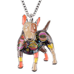 Colorful 3D Bull Terrier Fashion Necklace