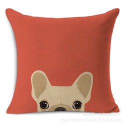 Tan French Bulldog Peaking From Bottom Red Pillowcase