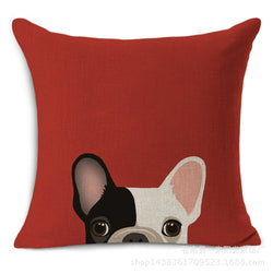 Black White French Bulldog Pink Ear Peaking From Bottom Pillowcase