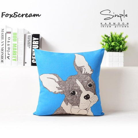 French Bulldog Mosaic Style Image Blue Pillowcase