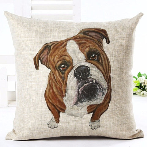 Brown White English Bulldog From Top Looking Up Pillowcase
