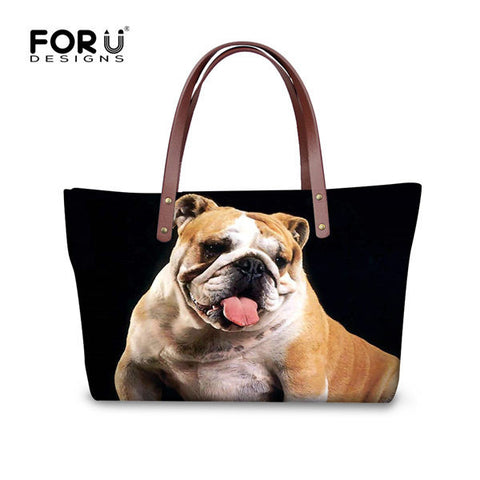 English Bulldog Tongue Out Black Background Top Leather Shoulder Bag