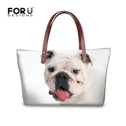 White English Bulldog White Background Leather Strap Shoulder Bag