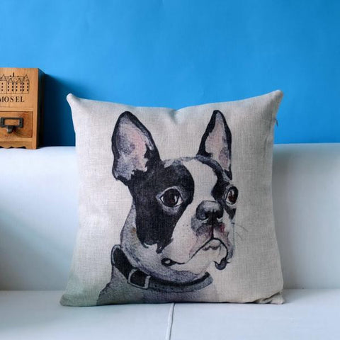 Boston Terrier Head Looking To Side Painting Pillowcase