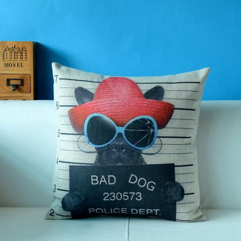 French Bulldog Lady Mug Shot Bad Dog 230573 Pillowcase