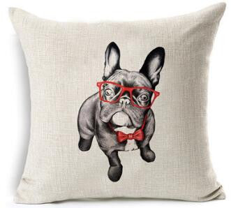 French Bulldog Red Glasses Bow Tie Pillowcase