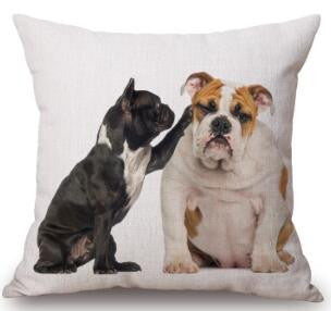 Black French Bulldog Touching English Bulldog Pillowcase