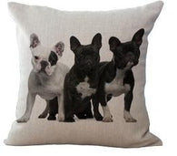 3 White Black French Bulldogs Side By Side Pillowcase