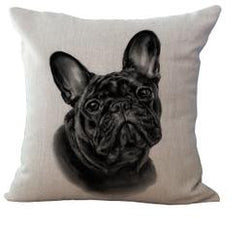 All Black French Bulldog Head Looking Straight Pillowcase