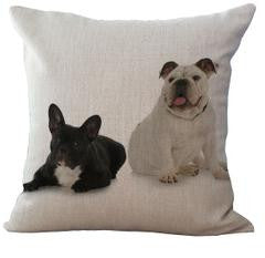 Laying Black French Bulldog Sitting White English Bulldog Pillowcase