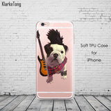 English Bulldog Puppy Dressed Up Transparent Phone Case for iPhone