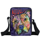 Colorful Portrait Pit Bull, Bull Terrier Shoulder Bag