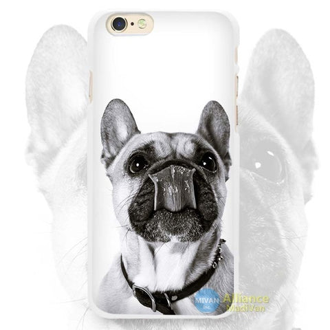 Grayscale French Bulldog Licking Mouth Phone Case for iPhone