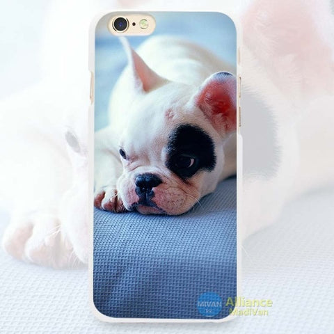 White French Bulldog Black Patch Laying Phone Case for iPhone