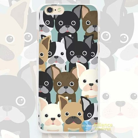 Multicolored French Bulldogs Cartoon Pattern Phone Case for iPhone